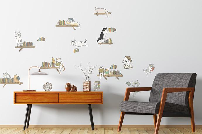 貓小姐、黃色書刊無痕壁貼 輕鬆轉換居家風格